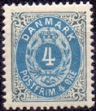 Denmark 1895 4öre blue grey Bi Coloured perf 12¾
