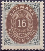 Denmark 1896 16öre Bi-coloured perf 12½