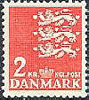 Denmark 1947 2kr red Coat of Arms ordinary paper