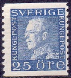 Sweden 1921-1936 25öre blue white paper King Gustav V left profi
