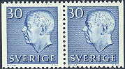 Sweden 1961 30öre blue pair Gustav VI Adolf type III