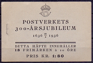 Sweden 1936 Booklet H 30 Tercentenary of the Post Office