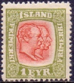 Iceland 1907-08 1eyr Two Kings WM Crown