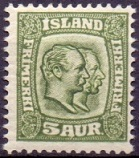 Iceland 1907-08 5aur Two Kings WM Crown