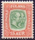Iceland 1907-08 15aur Two Kings WM Crown
