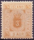 Iceland 1878 Official stamp 3aur coat of arms perf 14x13½