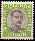 Iceland 1920-32 Official Stamp 20aur Christian X