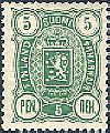 Finland 1889-1900 5p Coat of Arms m/89 perf 14x13