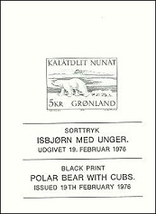 Greenland 1976 Black-print Polar Bear with young